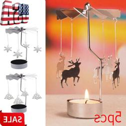 1/5X Spinning Rotary Metal Carousel Tea Light Candle Holder