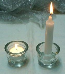 1-Reversible Votive/Tea Light/Taper~Candle Holder-Clear Glas