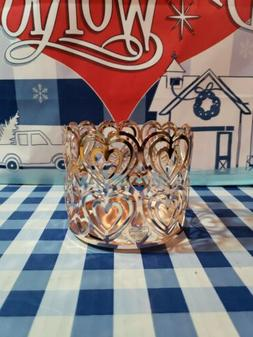1 Bath Body Works ROSE GOLD HEART CUTOUT Large Candle Holder
