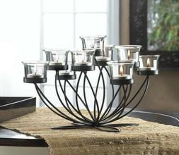 10 IRON BLOOM Candle Centerpieces Black Circular Frame 9 Cup