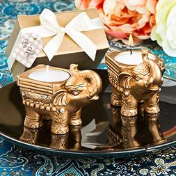 Gold Good Luck Indian Elephant Candle Holder Favors, 10