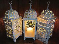 13 lot white Moroccan scrollwork Lantern Candle holder weddi