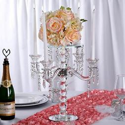 "15"" Gemcut Glass Candelabra Votive Candle Holder With Crysta"