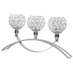"""16.5"""" 3 Arm Crystal Candle Holders Votive Tea Light Stand We"""