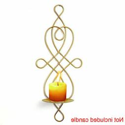 1pc Black Decorative Swirling Iron Hanging Wall Candle Holde