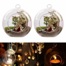 2/6/12Pcs Clear Hanging Glass Globe Tealight Candle Holder A