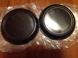 "2 Hosley 8"" Pillar Black Metal Candle Holder Plates"