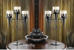 2 Black Torch Gothic dungeon castle medieval halloween Candl
