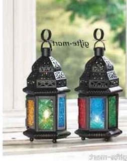 "2 Multi color rainbow 10"" Moroccan lantern Candle holder lig"