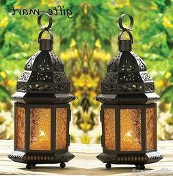"2 amber Yellow 12"" tall Moroccan Marrakesh Candle holder Lan"