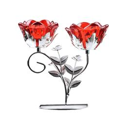 2 Arm Flower Red Glass Tealight Candle Holder Metal Stand Ho