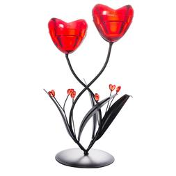 2 Arms Red Heart Candelabra Candle Holder Stand Tea Light We