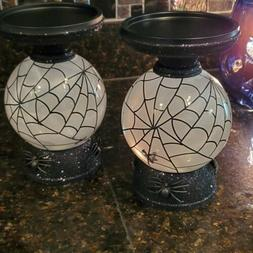 2 Bath & Body Works  Globe Bat Pedestal 3-wick Candle Holder