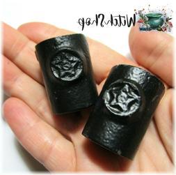 "2 Black Cast Iron Pentagram Candle Holders for 4"" Mini Taper"