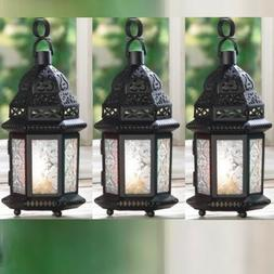 "2 CLEAR GLASS MOROCCAN CANDLE LANTERNS - 10 1/4"" HIGH - IRON"