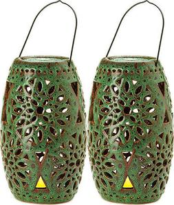 """2 large green 16"""" punched ceramic outdoor candle holder La"""