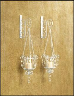 2 Ivory Sconce Candle Holder Wall Decor - NEW