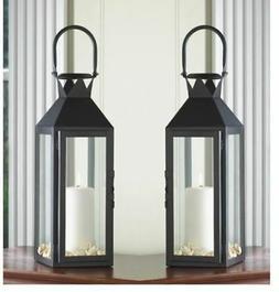 "2  Large 15"" tall BLACK Candle holder Lantern Lamp terrace o"