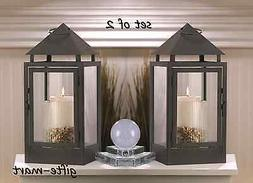 "2 large 15"" tall BLACK Candle holder Lantern Lamp terrace ou"