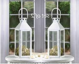 """2 large 15"""" tall WHITE Candle holder Lantern Lamp terrace ou"""