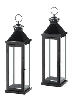 "2 large 20"" tall BLACK Candle holder Lantern floor Lamp terr"