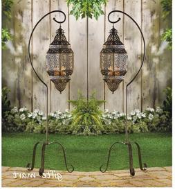 2 large hanging Moroccan pendant Lantern Candle holder lamp