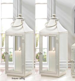 """5 large 17"""" White shabby whitewashed Lantern Candle holder w"""