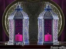 "2 lot PURPLE Moroccan 11"" tall Candle holder Lantern light o"