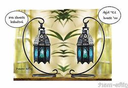 """2 Moroccan 8"""" tall BLUE Candle holder Lantern Lamp light out"""