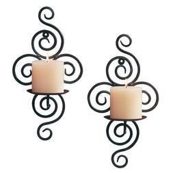 Metal Pillar Candle Holder Sconce 2 Pack Scroll Iron Wall Mo