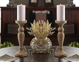 """2 rustic old world whitewashed turned wood 10"""" tall Candle h"""