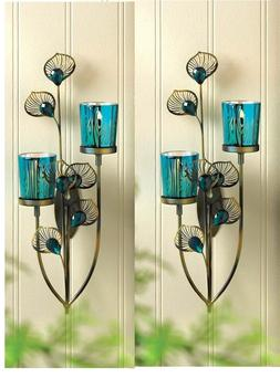 2 teal blue turquoise Peacock feather wall sconce sculpture