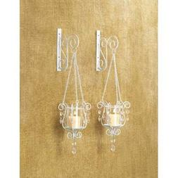 2 White Chic Shabby Hurricane crystal hanging Candle Holder