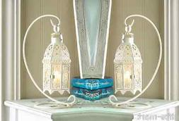 2 White shabby Moroccan hanging Candle holder Lantern Weddin