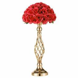 "21"" Gold Metal Wedding Flower Table Decor Vase Centerpiece S"