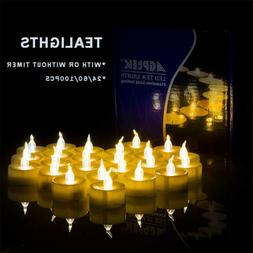 24/60/100pcs Flickering LED Tealights with Timer Candles Fla