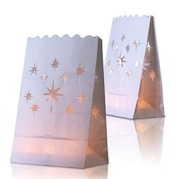 24 White Paper Lantern Luminary Bags - Perfect for Electric