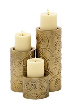 Benzara 24121 Too Beautiful Metal Candle Holder Set of 3 Can