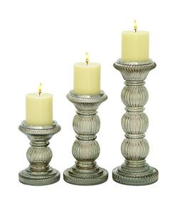 """Deco 79 Glass Candle Holder S/3 6"""", 9"""", 12"""" H-24648, 6""""/9""""/1"""