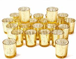 Votive Candle Holder Bulk Set Of 24 - Speckled Mercury Glass