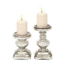 Deco 79 28883 Glass Candleholder Set of 2