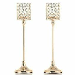 VINCIGANT 2PCS 18 Inches Gold Crystal Tea Light Candle Holde