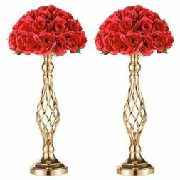 "2pcs 21"" Metal Vase Centerpiece Stand Candle Holder Wedding"