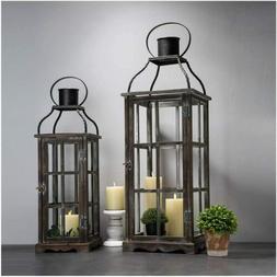 2pcs farm house primitive oversized metal lanterns