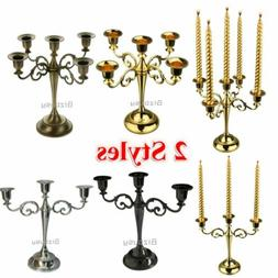 3/5 Arms Metal Candle Holder Candelabra Alloy Crafts Stand W