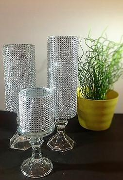 3 Set candle holder glass wedding centerpieces tall Crystal