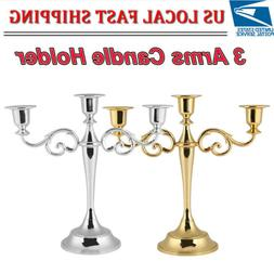 3 Arm Candle Holder Candelabra Stick Home Candlestick Dinnin