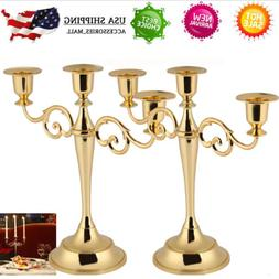 3 Arms Alloy Candle Metal Crafts Candelabra Holder Stand Wed