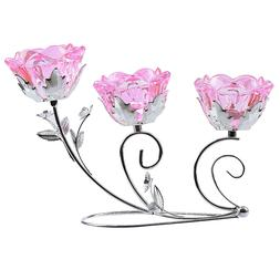 3 Arms Crystal Pink Flower Candle Holder Tealight Home Table