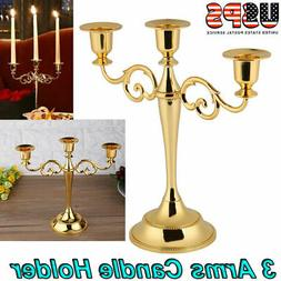 3 Arms Metal Crafts Candelabra Alloy Candle Holder Stand Hom